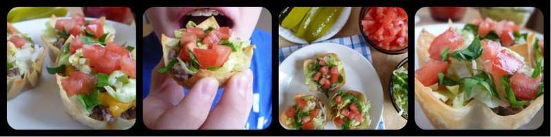 Collage of cheeseburger tartlets with bowls of tomatoes, lettuce, and pickles in the background.