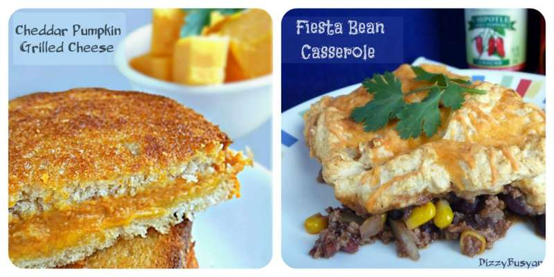 Collage of cheddar pumpkin grilled cheese and fiesta bean casserole recipes.