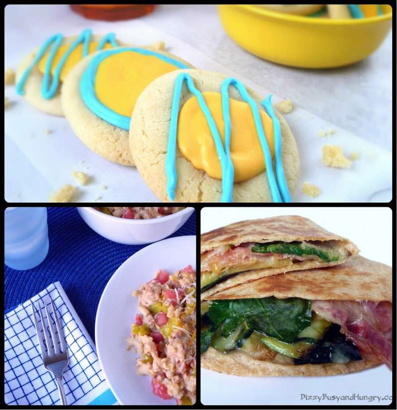 Collage of three recipes-  Crockpot Cheeseburgers, Zucchini Bacon  Cheese Quesadilla, and Sunny Citrus Sugar Cookie