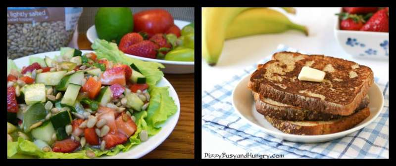 french toast and summer salad collage