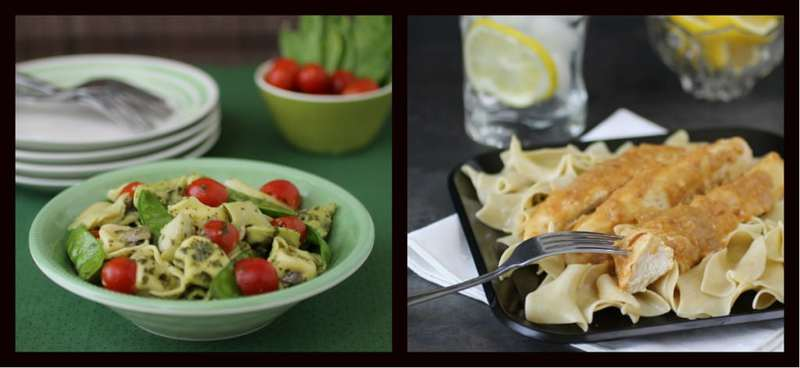 Collage of two recipes- tortellini pesto and lemon butter chicken.