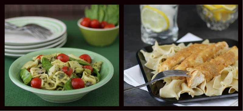 tortellini pesto and lemon butter chicken collage
