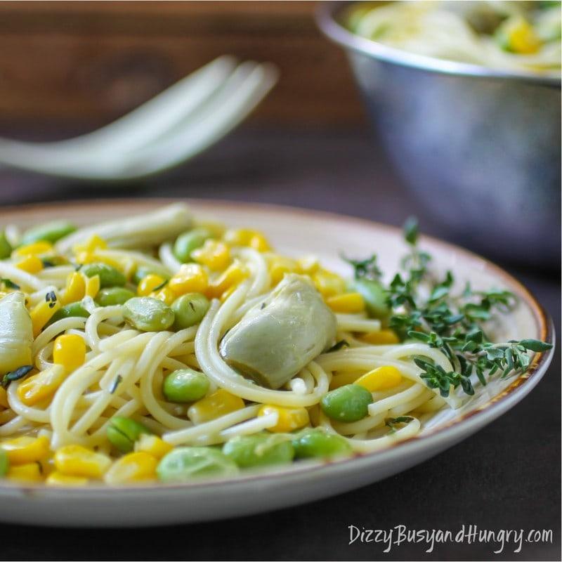 Artichoke Corn and Edamame Spaghetti