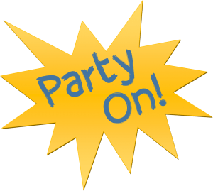 Close up shot of a Party On logo.
