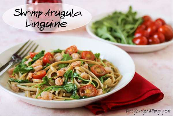shrimp arugula with linguine text2