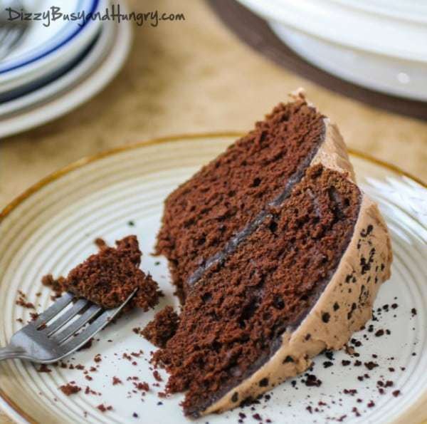 mocha cake with hazelnut buttercream frosting