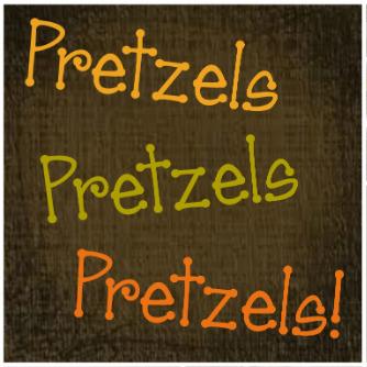 Pretzels Pretzels Pretzels! Icon on a brown background.