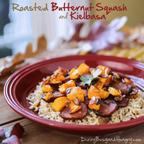 roasted butternut squash and kielbasa