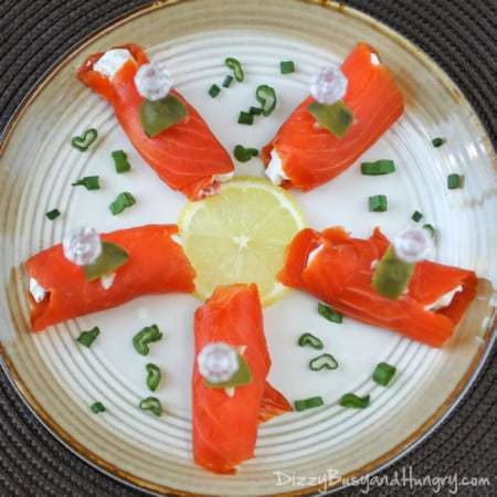 Smoked Salmon Bites | DizzyBusyandHungry.com - Serve these delicious scallion cream cheese and salmon bites at your next party and your guests will love you!