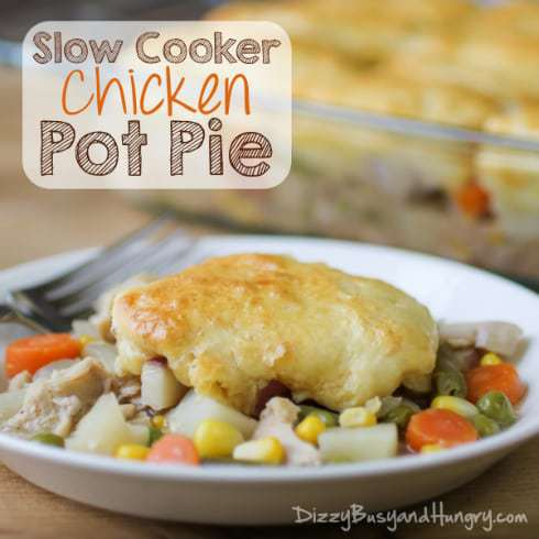 Slow Cooker Chicken Pot Pie from DizzyBusyandHungry.com