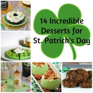 Collage of several different St. Patrick's day desserts.