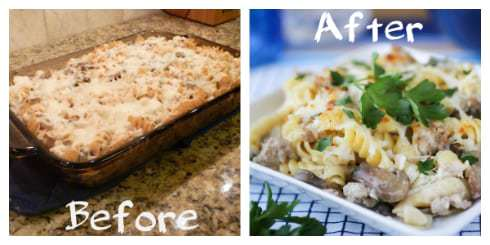 Collage of before and after shot of turkey rotini bake.