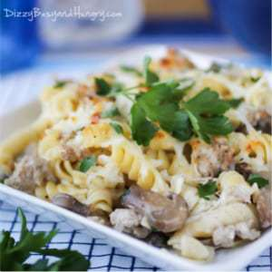 Close up shot of turkey rotini bake on a white square plate garnished with herbs with a blue background.