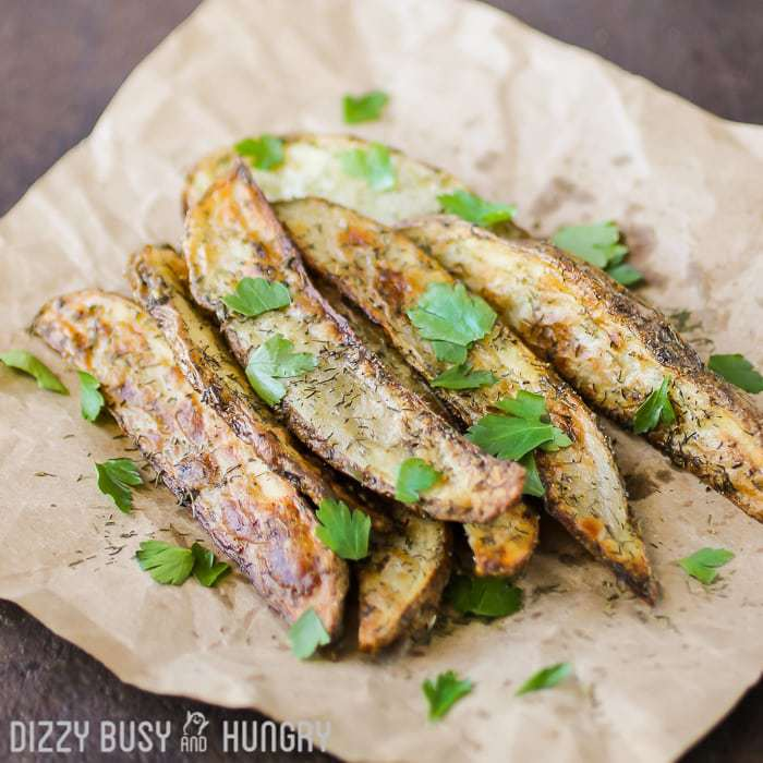 Baked Dill Fries | DizzyBusyandHungry.com - Delicious, guilt-free fries dressed-up with olive oil and dill weed and baked until crispy on the outside!