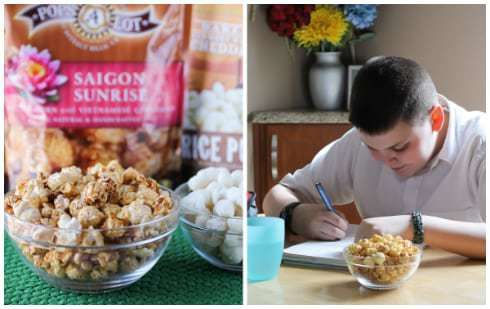 Two panel collage of two clear bowls of popcorn with the bags in the background and a teenage boy doing homework at a table.