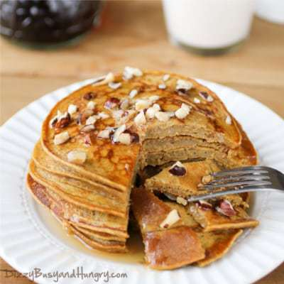 Pumpkin Apple Butter Pancakes from DizzyBusyandHungry.com