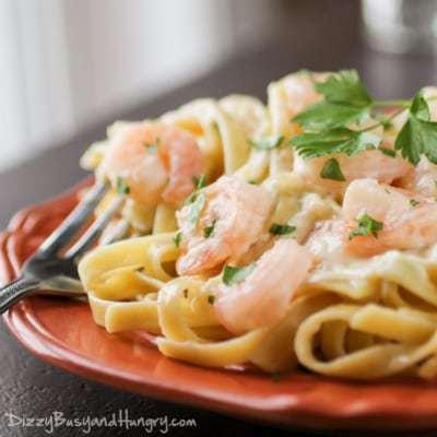 Shrimp Fettuccine Alfredo from DizzyBusyandHungry.com