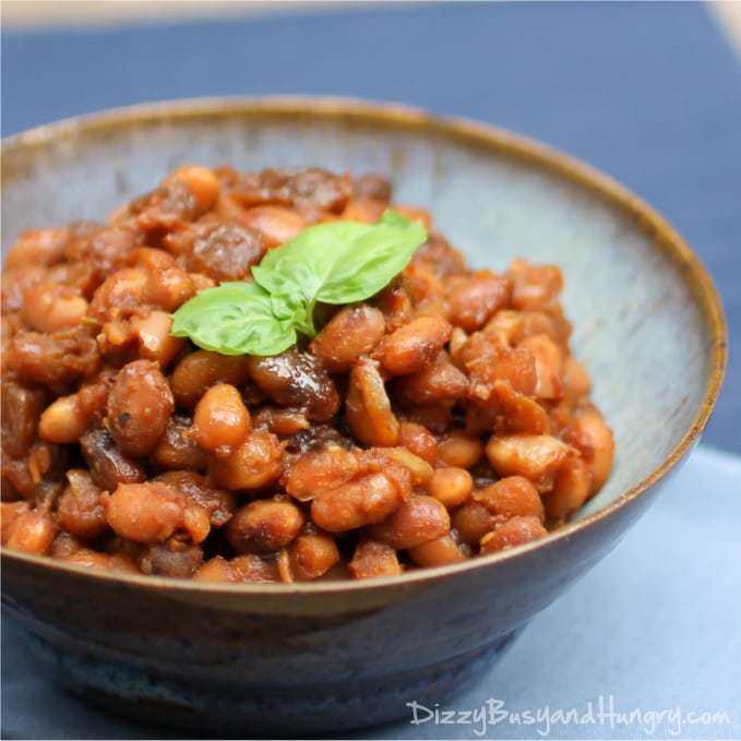 Boston Baked Beans from DizzyBusyandHungry.com #sidedish #beans #barbecue