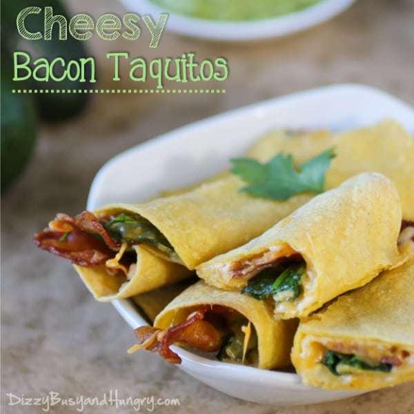 Cheesy Bacon Taquitos | DizzyBusyandHungry.com #easyrecipe #bacon #taquitos
