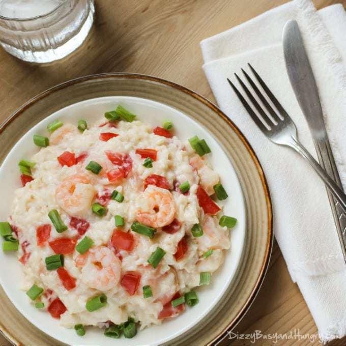 Creamy Rice and Shrimp | DizzyBusyandHungry.com #shrimp #rice #easydinner
