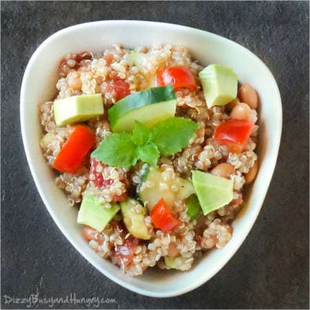 Quick, healthy, and filling quinoa salad with avocado and cucumber finished with a tasty lime dressing.