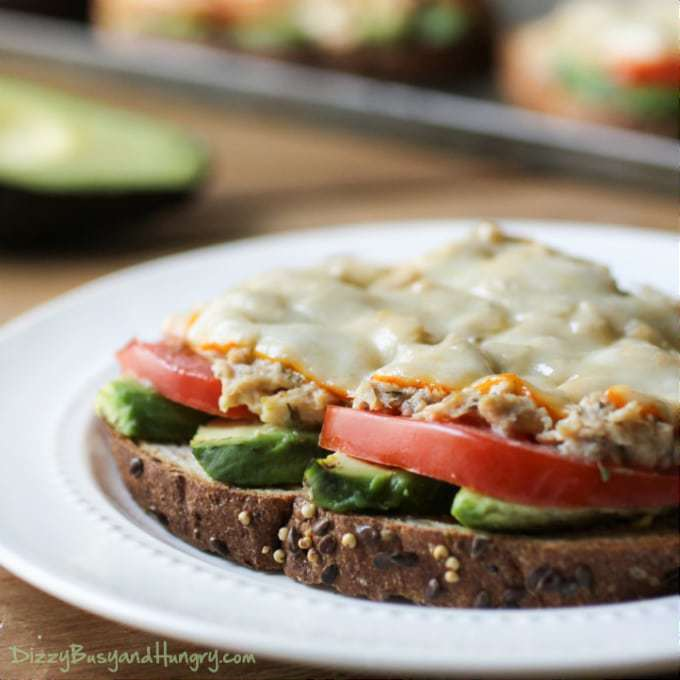 Avocado Tuna Melt | DizzyBusyandHungry.com - Avocado, tomato, tuna salad, and muenster cheese on crunchy toasted whole grain bread. #tunamelt #lunchrecipes #avocado