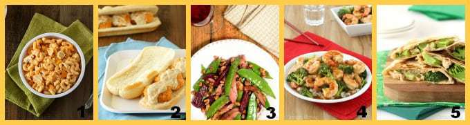 Collage of five different kid favorite dinners.