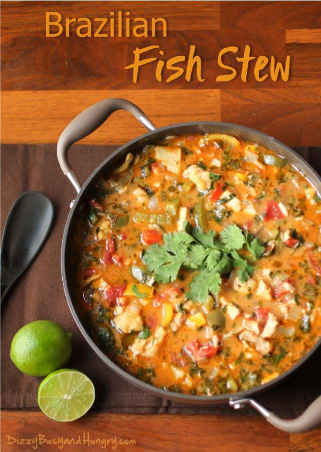 Brazilian fish stew dizzy busy and hungry recipes overhead view of a round pan filled with brazilian fish stew on a brown board with forumfinder Image collections