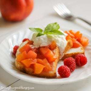 Close up shot of nectarine compote dessert on a white plate with a nectarine and a fork in the background.