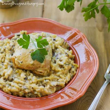 Easiest Slow Cooker Chicken and Wild Rice from DizzyBusyandHungry.com