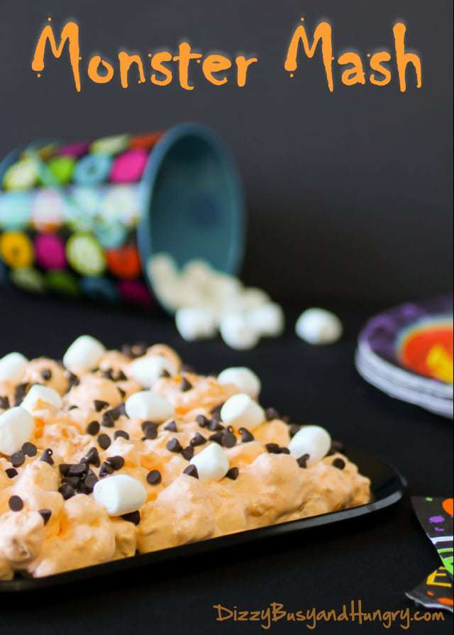 Monster Mash | DizzyBusyandHungry.com - This sweet treat made with marshmallows and mandarin oranges is guaranteed to be a hit at any Halloween party! #Halloween #marshmallows #oranges #chocolate