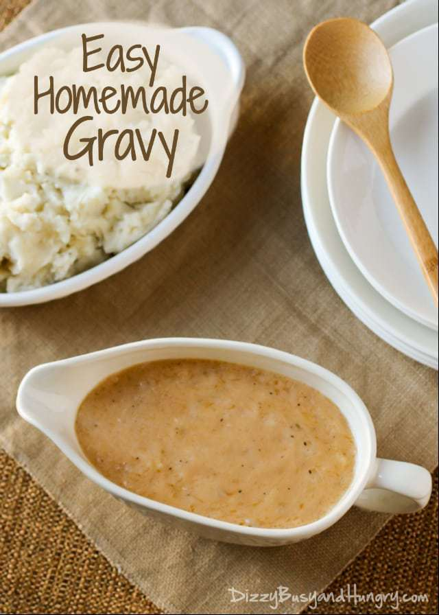 easy homemade gravy pictured with mashed potatoes