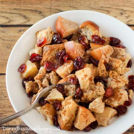 Slow Cooker Cranberry Apple French Toast | DizzyBusyandHungry.com - Wake up to the enticing aroma of this warm and hearty breakfast that is sure to give your family a great start to their day!