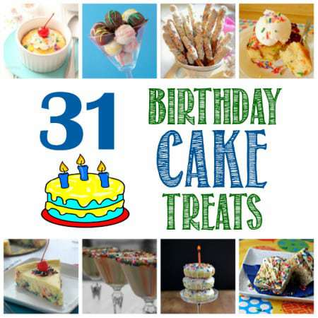 Collage of several different birthday cake treats.