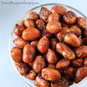 Chipotle Lime Roasted Peanuts | DizzyBusyandHungry.com - Crunchy, spicy, and totally addictive, this snack can be whipped up in minutes and is guaranteed to impress your guests!