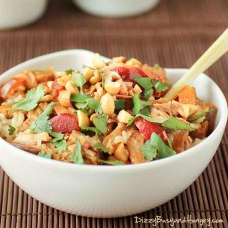 Slow Cooker Thai Spicy Peanut Chicken