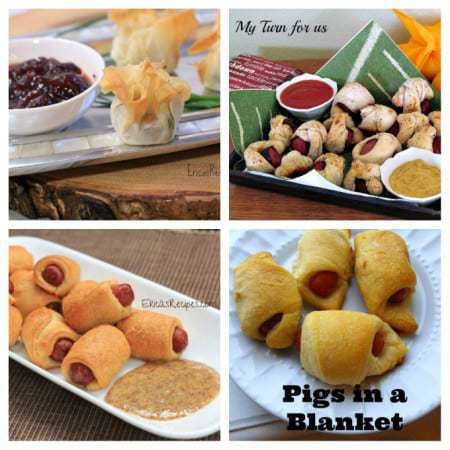 Collage of four different pigs in a blanket recipes.