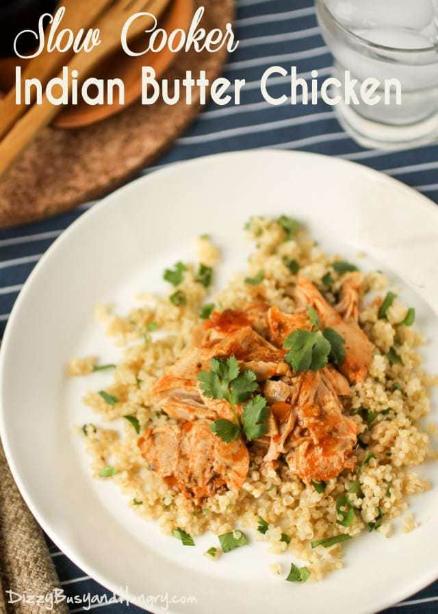 Slow Cooker Indian Butter Chicken | DizzyBusyandHungry.com - So flavorful and satisfying, and only 3 ingredients! It doesn't get any easier than this!