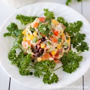 Fiesta Chicken Salad | DizzyBusyandHungry.com - Lightened up chicken salad full of fresh and zesty flavors!