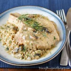 Slow Cooker Mushroom Pork Chops | DizzyBusyandHungry.com - Wonderfully easy and delicious family dinner!