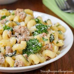 Easy Turkey Broccoli Pasta Dinner | DizzyBusyandHungry.com - Super-easy, family-pleasing dinner ready in less than 30 minutes!