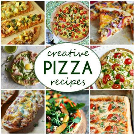 Collage of creative pizza recipes with the logo in the middle.