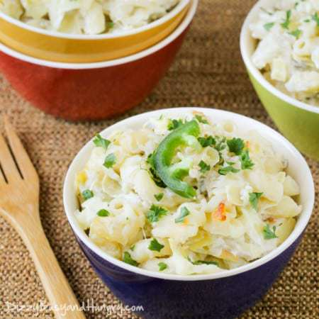 Jalapeno Artichoke Mac and Cheese | DizzyBusyandHungry.com - Easy to prepare and so flavorful, this mac and cheese is a fun variation the whole family will love!