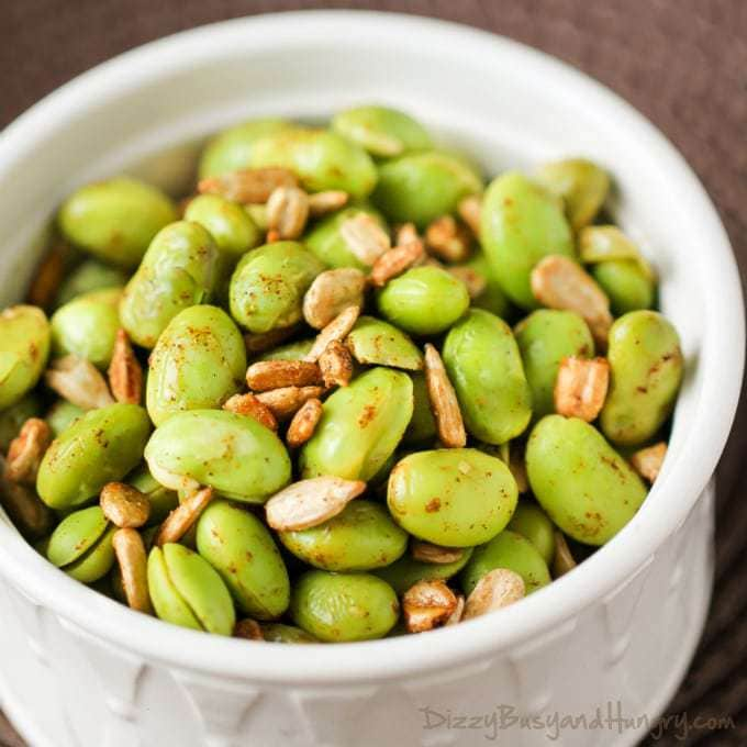 Chipotle Lime Edamame | DizzyBusyandHungry.com - Flavorful and healthy side dish idea!
