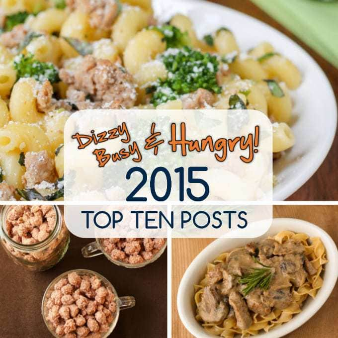 Collage of top ten posts for 2015 with an icon in the center.