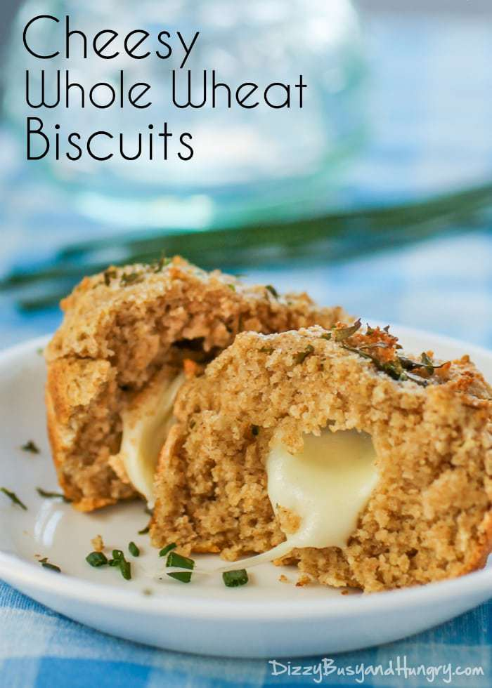 Cheesy Whole Wheat Biscuits | DizzyBusyandHungry.com - Gooey, cheesy dinner biscuits made with the goodness of whole wheat flour - ready in less than 25 minutes!