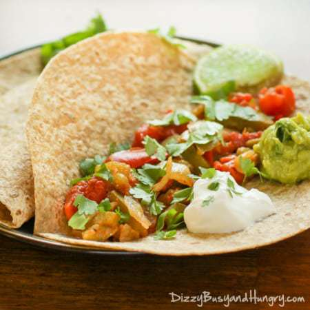 Slow Cooker Veggie Fajitas | DizzyBusyandHungry.com - No chopping required! Easy, healthy, and tasty!