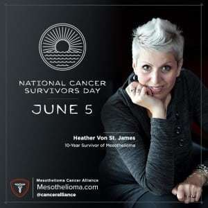 Sign of National Cancer Survivors Day with Heather Von St. James posing on the side.