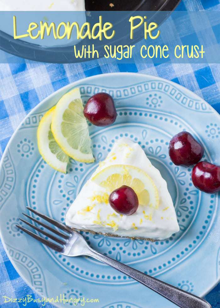 Lemonade Pie with Sugar Cone Crust #SundaySupper | DizzyBusyandHungry.com - Sweet, tart , and so refreshing, this dessert is a delicious throwback to summers gone by!