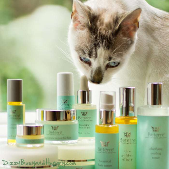 Side view of Beterre skin care bottles with a white and grey cat in the background.